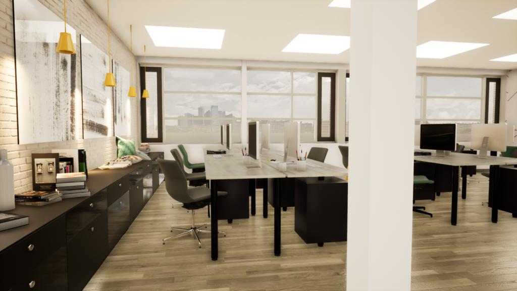 Bildtext: Exempel på visualisering av kontor från en 3D-BIM-modell.